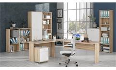 Büroset 2 TEMPRA Büromöbel Office Sonoma Eiche und weiß