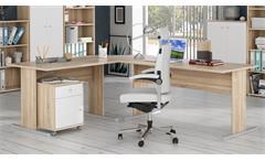 Büroset 2 Tempra Schreibtisch Regal Schrank Büromöbel Office Sonoma Eiche weiß