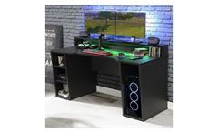 Computertisch Gaming PC-Tisch 1 Tezaur Schreibtisch schwarz matt mit Beleuchtung