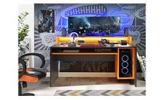Computertisch Gaming PC-Tisch 2 Tezaur Schreibtisch schwarz orange Beleuchtung