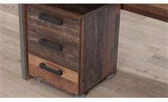 Rollcontainer Clif Büro Schubladenelement in old wood vintage Altholz mit Rollen