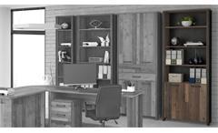 Aktenregal Clif Büroregall Büroschrank old wood vintage Beton 2-türig