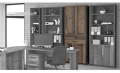 Aktenschrank Clif Bücherschrank Büroschrank old wood vintage Beton 4-trg