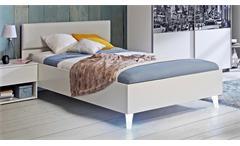 Bett Yerodin Bettgestell Jugendbett weiß mit LED Beinen Futonbett 120x200 cm
