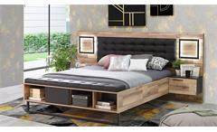 Bettanlage Sirius Crown Stabeiche 180x200 cm Bett mit Nachtkommoden inkl. LED