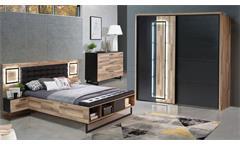 Schlafzimmer SIRIUS CROWN in Stabeiche Set 3-tlg. mit LED