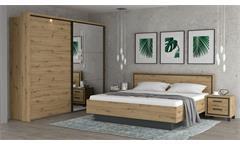 Doppelbett Schlafzimmer Bett Trondheim Bettgestell in Artisan Eiche 180x200 cm
