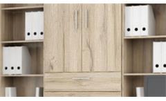 Schrank Mindi Aktenschrank Büroschrank Arbeitszimmer in Eiche Bianco 220 cm