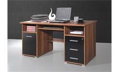 Schreibtisch 0484 Bürotisch Computertisch schwarz Walnuss abschließbar Germania
