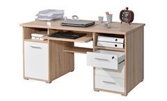 Schreibtisch 0484 Bürotisch Laptoptisch weiß Sonoma Eiche abschließbar Germania