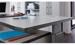 Schreibtisch 0651 Profi Bürotisch PC-Tisch grau höhenverstellbar Germania 70-80
