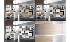 Regal 2 Shine Schiebetürenregal Büroschrank weiß und Sonoma Eiche Germania