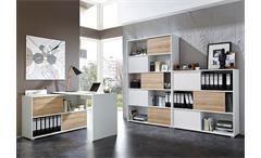 Büro Set Shine Arbeitszimmer Büroprogramm weiß Sonoma Eiche 3-tlg Germania