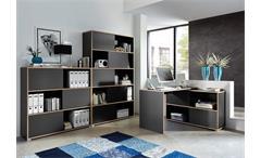 Büro Set Slide Büroprogramm Büromöbel anthrazit Sonoma Eiche 3 teilig Germania