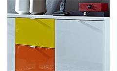 Sideboard Colorado GERMANIA Kommode Front hochglanz weiß 3 bunte Schubkästen
