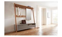 Garderobe Calvi Flurmöbel mit Spiegel in Steingrau und Navarra Eiche von Germania
