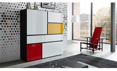 Highboard IDEEUS Sideboard Kommode in schwarz und Glas weiß rot gelb