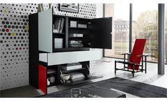 Highboard Ideeus Sideboard Kommode Schrank in schwarz und Glas weiß rot gelb 120