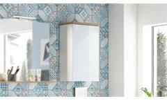 Hängeschrank 2750 Pescara Badezimmerschrank Badmöbel in weiß Glas Navarra Eiche