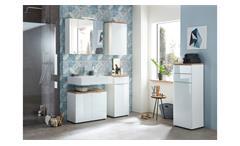 Badezimmer Set 1 Pescara Badmöbel mit Spiegel weiß Glas Navarra Eiche inkl. LED