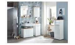 Badezimmer Set 2 Pescara Badmöbel mit Spiegel weiß Glas Navarra Eiche mit LED