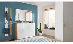 Garderoben Set 1 Telde Schuhschrank Spiegel Flurmöbel in weiß Glas Navarra Eiche
