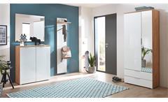 Garderoben Set 2 Telde Schuhschrank Spiegel Flurmöbel in weiß Glas Navarra Eiche