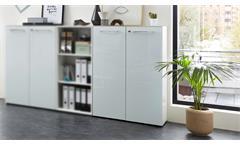 Aktenschrank 4202 Monteria Büroschrank Schrank Büromöbel in weiß Glas 80x120