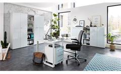 Aktenschrank 4204 Monteria Büroschrank Schrank Büromöbel weiß Opti-White Glas