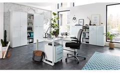 Büro Set 8-Teilig Monteria Schrank Regal Schreibtisch Home Office in weiß Glas