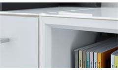 Büro Set 8-teilig Monteria Schrank Regal Tisch Home Office weiß Opti-White Glas