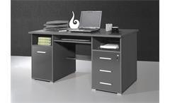 Schreibtisch 0484 Bürotisch Computertisch in anthrazit abschließbar Germania