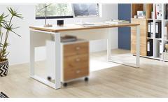 Schreibtisch 4157 Bürotisch LIONI Weiß Navarra-Eiche Dekor