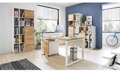 Aktenschrank 4196 Schrank Lioni Büroschrank in Weiß Navarra-Eiche Dekor 85x40 cm