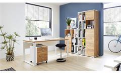 Büro-Set 4-teilig LIONI Büromöbel in Weiß Navarra-Eiche Dekor
