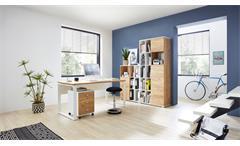 Büro-Set 4-teilig Komplettset Lioni Büromöbel in Weiß Navarra-Eiche Dekor