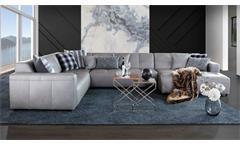 Ecksofa Bombay Wohnlandschaft Sofa Couch Ottomane Polstermöbel grau echt Leder