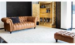 3er Sofa Amazonas Chesterfield Polstersofa Polstermöbel in echt Leder cognac
