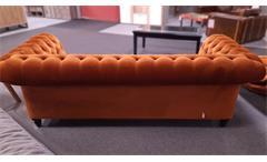 Megasofa Couch Chesterfield Samtoptik braun 230 cm Wohnzimmer Canyon