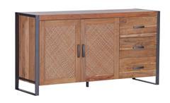 Sideboard ALVARA Akazienholz Massivholz Metall Rattan