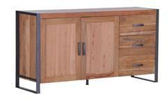 Sideboard Schrank Kommode Akazie Massivholz Metall anthrazit Rattan Alvara