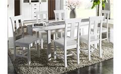Tischgruppe RUDOLF Kiefer massiv Weiß gewachst - 7 teilig