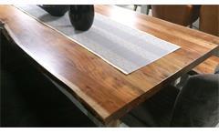 Esstisch massiv Madras 210x110 cm Akazie Baumkante Gestell Metall