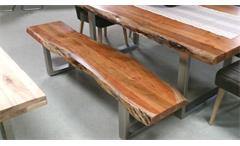 Sitzbank Madras Massivholz 195x38 cm Akazie mit Baumkante Gestell Metall