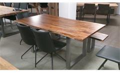 Tisch Kerala Massivholz Esstisch 180x100 cm Akazie Baumkante Gestell alufarbig