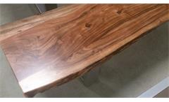 Bank Kerala Massivholz Sitzbank 180x38 cm Akazie Baumkante Gestell alufarbig