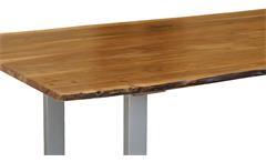 Tisch Agra Massivholz Esstisch 160x90 cm Akazie Baumkante Gestell alufarbig