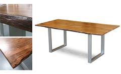 Tisch Agra Massivholz Esstisch 180x90 cm Akazie Baumkante Gestell alufarbig