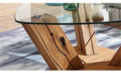 Couchtisch TI-0036 Tisch Wildeiche natur geölt und Glasplatte Klarglas dreieckig
