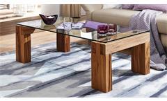 Couchtisch TI-0036 Tisch Wildeiche natur geölt und Glasplatte Klarglas rechteckig